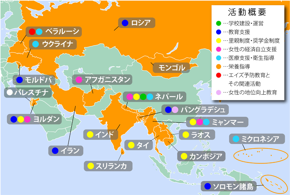 アジア・中東地域地図